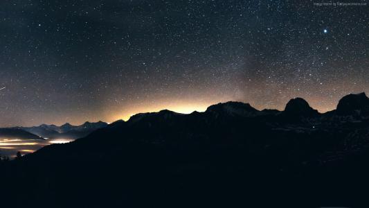 晚上,天空,山,8K(水平)