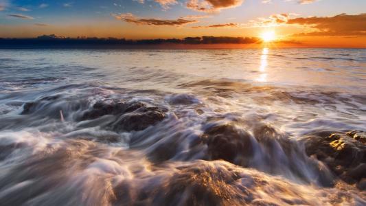 海滩,Ladispoli,日落,阳光,阳光,意大利,高清,4K