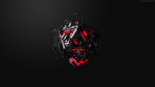 高清,抽象,3D,立方体(水平)