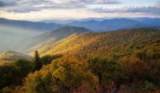 风景,蓝岭山脉,蓝岭大路,北卡罗莱纳州