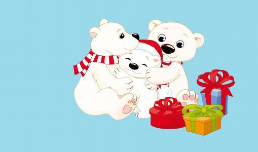 北极熊,礼物,XMAS,4K