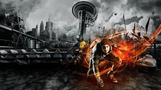 第二个儿子,游戏,西雅图,科尔MacGrath,爆炸,警察,D.U.P.,火,火花,黄色,截图,艺术(水平)