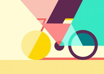 自行车,几何,最小,色彩缤纷,高清