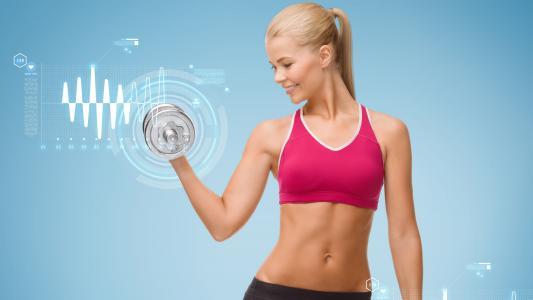 女人,举重,哑铃,钢,锻炼,5K