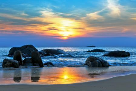 海,5k,4k壁纸,8k,太平洋,世界上最好的海滩,海岸,石头,日落(水平)