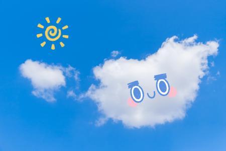 蓝天白云表情可爱个性手绘