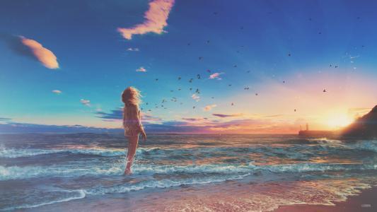 女孩,海滩,日出,早上,数字艺术,超现实,高清