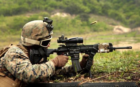 HK416, soldier, Heckler & Koch, assault rifle, firing, camo, in action (horizontal)