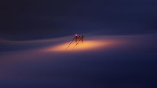 金门大桥,蓝色小时,雾,偷看,高清,5K