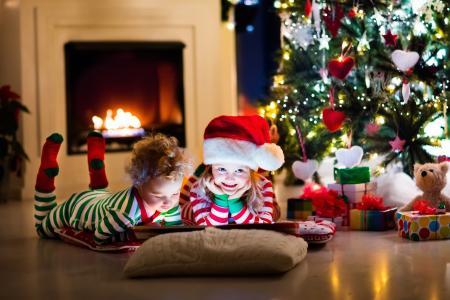 圣诞节,礼物,孩子们,圣诞老人的帽子,装饰,4 k