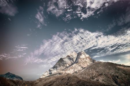 山,天空,云彩,5k(水平)