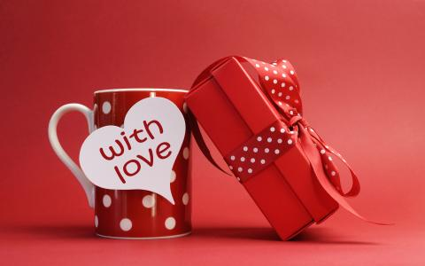 情人节,爱,礼物,浪漫,心,杯,标志(水平)