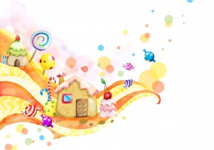 糖果房子,棒棒糖,糖果,甜,4K