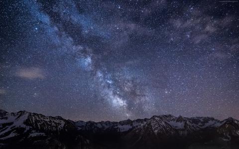 坏Hindelang,4k,高清壁纸,德国,星星,夜晚,山,星云,银河(水平)