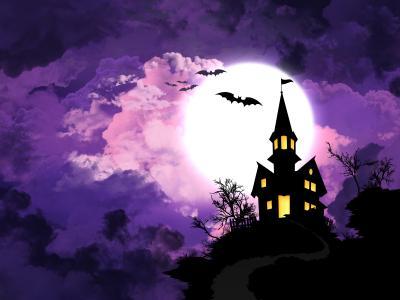 鬼屋,蝙蝠,月亮,高清,4K