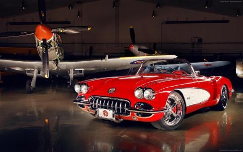 雪佛兰克尔维特C1,红色,高清,4k,瑞士经典世界(水平)