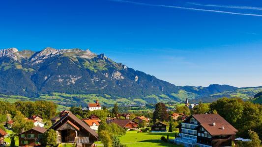 瑞士阿尔卑斯山,山,镇,瑞士,5K