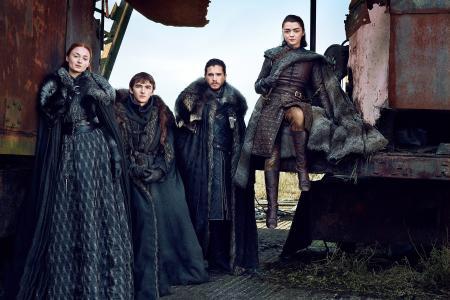 Arya Stark,Bran Stark,Jon Snow,Sansa Stark,Isaac Hempstead-Wright,Kit Harington,Maisie Wil