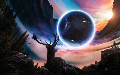 鹿,行星,宇宙,山,高清