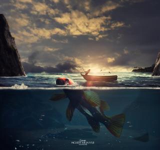 渔夫,日落,小船,高清