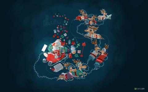 圣诞老人,灯,12月,驯鹿,高清