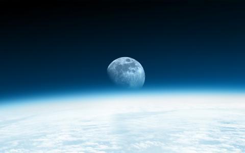 月亮,地平线,蓝色,高清