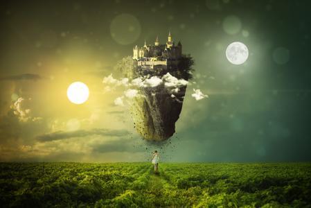 春分,月亮,太阳,浮动的城堡,女人,女孩,梦想,景观,4K