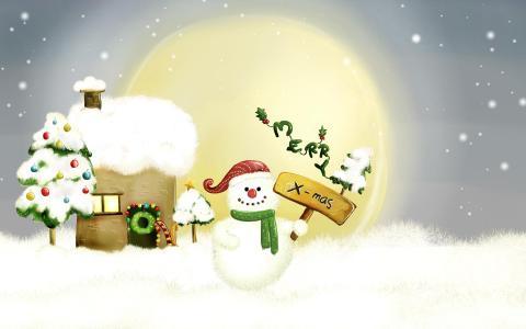 雪人快乐圣诞节