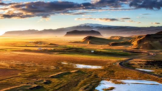 岩石,景观,Dyrholaey,黄金小时,冰岛