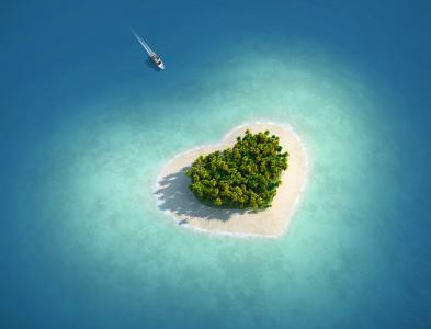 爱的心,岛,度假,游艇,高清,4 k