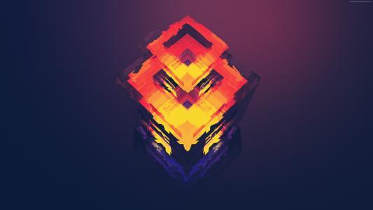 抽象,多边形,4k,5k,iphone壁纸,android壁纸,橙色,红色(水平)