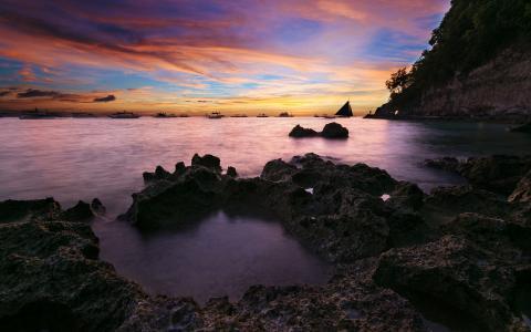 沿海日落海景