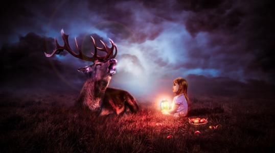 可爱的孩子,鹿,晚上,元宵,苹果,4K,8K