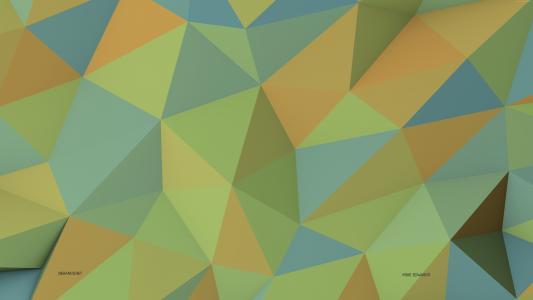 多边形,4k,5k壁纸,8k,绿色,黄色,背景,图案(水平)