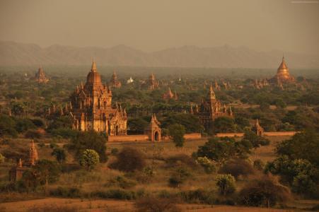 蒲甘寺庙,缅甸,旅游,旅游,预定(卧式)