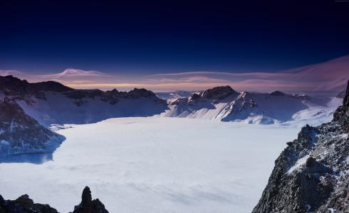 长白,山,中国,雪,冬天,天空,云,5k(水平)