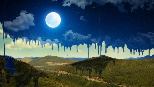 月亮,山,夜晚,艺术,高清(横向)