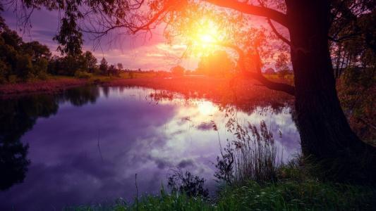 日落,黄昏,湖,风光,高清,5K