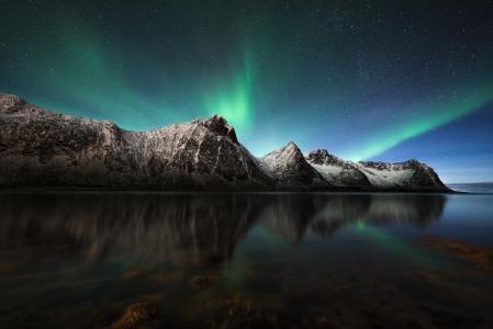 北极光,极光,冰岛