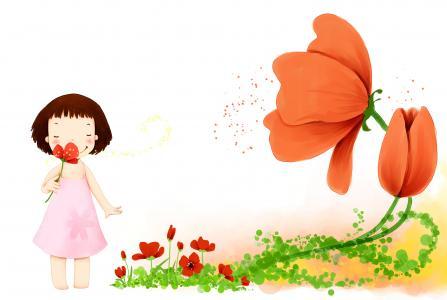 可爱的女孩,卡通,鲜花