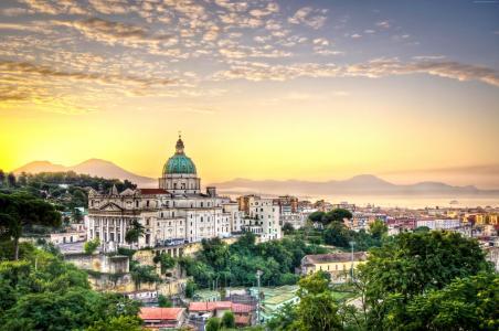 意大利,那不勒斯,那不勒斯,城市,天空,云,酒店,旅行(水平)