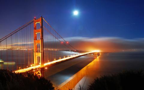 旧金山桥夜间灯