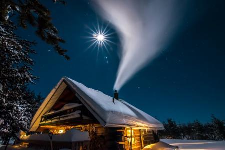 雪烟,房子,月亮,高清