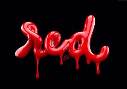 排版,抽象,3D,红色,4k(水平)