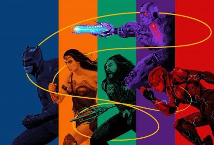 正义联盟,蝙蝠侠,神奇女侠,Aquaman,电子人,闪光,4K