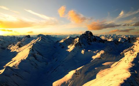 瑞士的阿尔卑斯山,山,雪,法国,瑞士