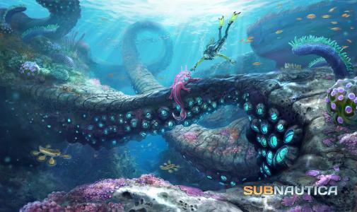 Subnautica,2015,游戏,潜水,触手,章鱼,海,潜水员,底部,蓝色,截图,PC,4K,5K(水平)