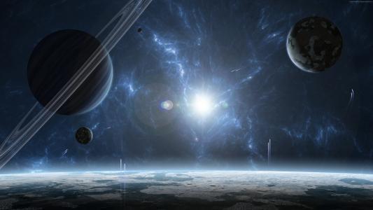 外行星,行星,空间,爆炸,星星(水平)