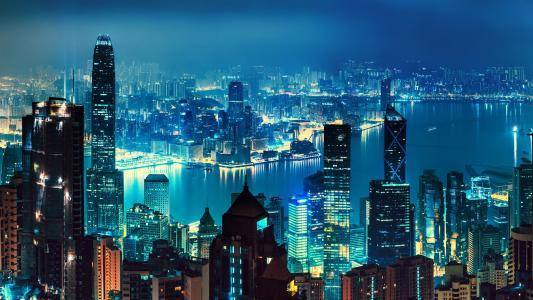 香港,夜景,天际线,高清
