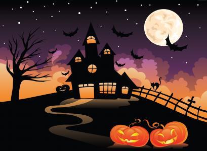 万圣节,万圣节前夕,万圣节前夕,城堡,夜晚,山丘,蝙蝠,满月(水平)